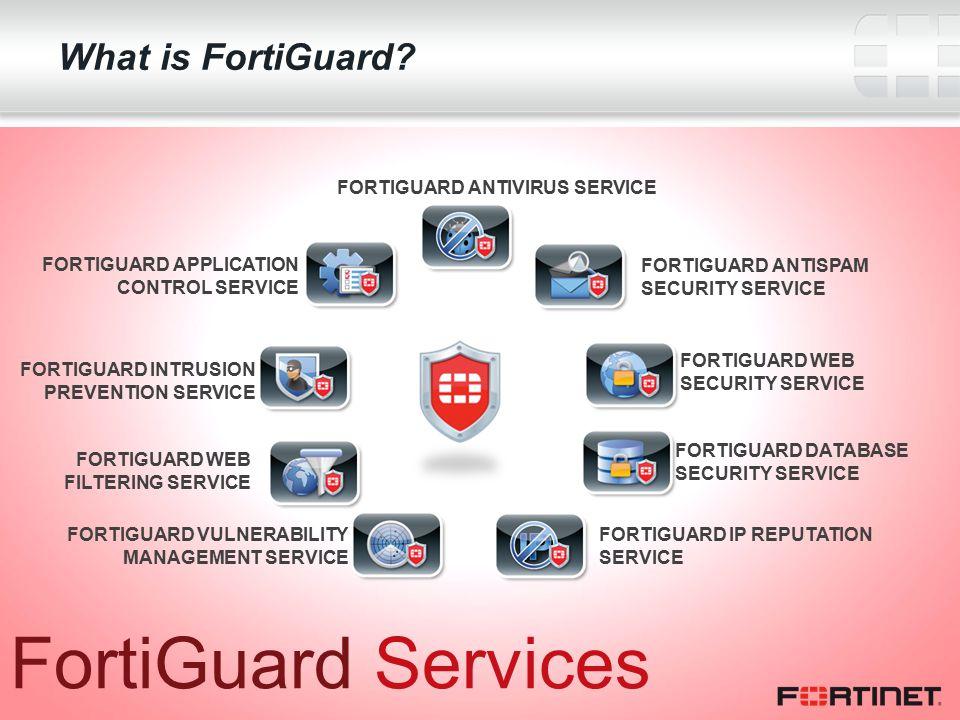 15 FortiGuard Services FORTIGUARD ANTIVIRUS SERVICE FORTIGUARD ANTISPAM SECURITY SERVICE FORTIGUARD WEB SECURITY SERVICE FORTIGUARD DATABASE SECURITY SERVICE FORTIGUARD IP REPUTATION SERVICE FORTIGUARD VULNERABILITY MANAGEMENT SERVICE FORTIGUARD WEB FILTERING SERVICE FORTIGUARD INTRUSION PREVENTION SERVICE FORTIGUARD APPLICATION CONTROL SERVICE What is FortiGuard?
