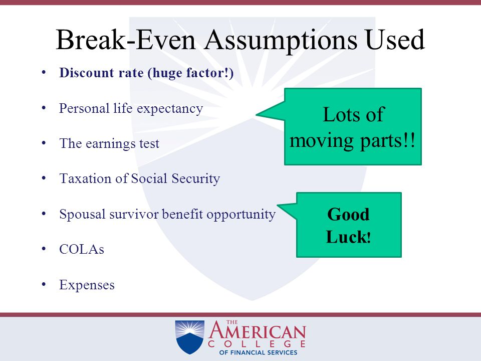 The Break-Even Approach For some clients the claiming-age decision is a net-present-value break-even choice that attempts to maximize the net worth a client can achieve.