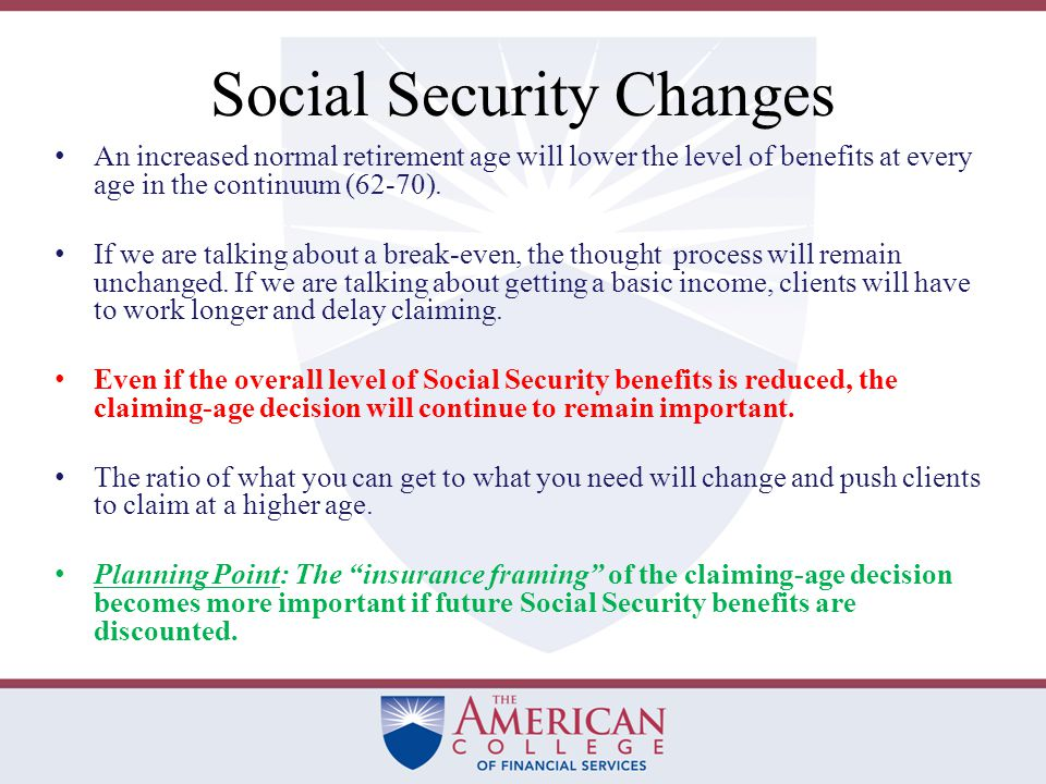 Social Security Changes The winds of change are blowing for Social Security.