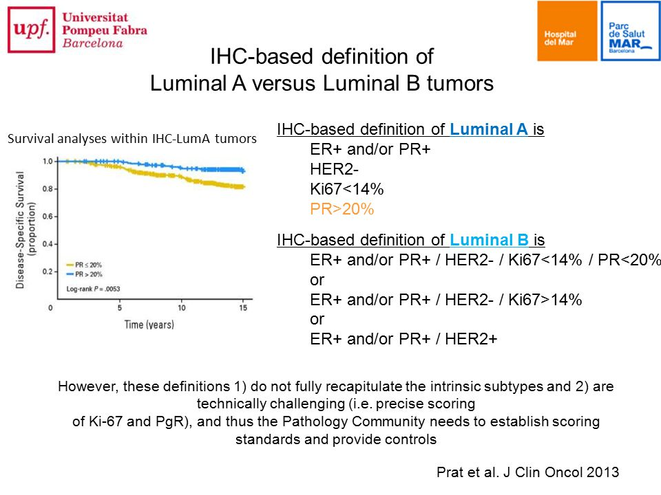 IHC-based definition of Luminal A is ER+ and/or PR+ HER2- Ki67<14% PR>20% IHC-based definition of Luminal B is ER+ and/or PR+ / HER2- / Ki67<14% / PR<20% or ER+ and/or PR+ / HER2- / Ki67>14% or ER+ and/or PR+ / HER2+ IHC-based definition of Luminal A versus Luminal B tumors However, these definitions 1) do not fully recapitulate the intrinsic subtypes and 2) are technically challenging (i.e.