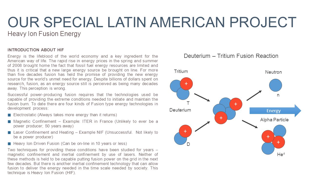 OUR SPECIAL LATIN AMERICAN PROJECT Heavy Ion Fusion Energy INTRODUCTION ABOUT HIF Energy is the lifeblood of the world economy and a key ingredient for the American way of life.