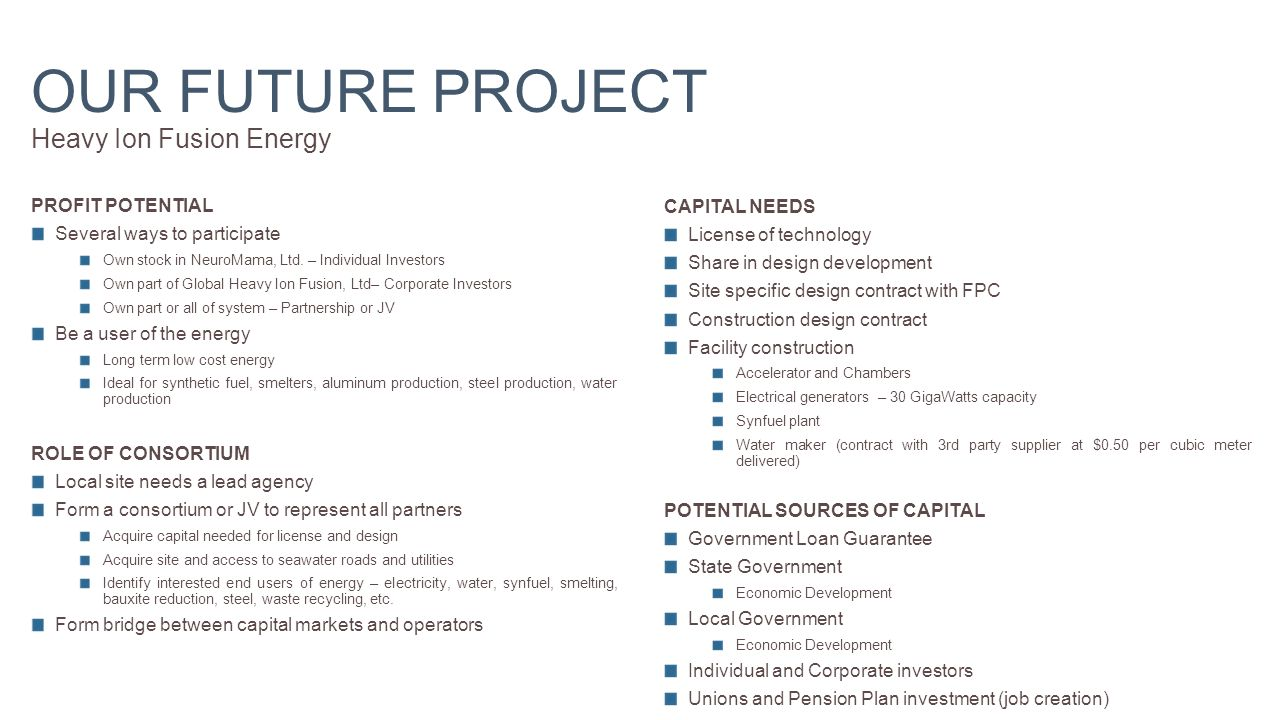 OUR FUTURE PROJECT Heavy Ion Fusion Energy PROFIT POTENTIAL Several ways to participate Own stock in NeuroMama, Ltd.