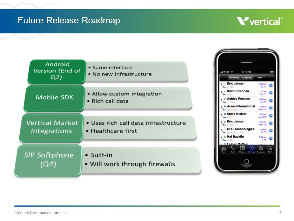 Future Release Roadmap Vertical Communications, Inc7