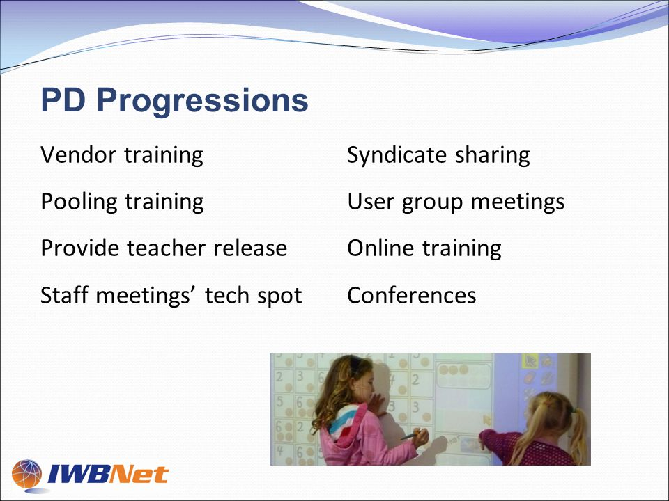 PD Progressions Vendor training Pooling training Provide teacher release Staff meetings' tech spot Syndicate sharing User group meetings Online training Conferences