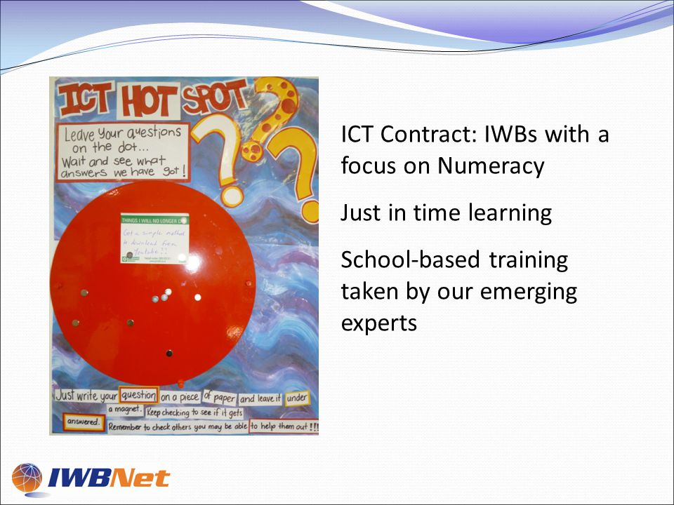 ICT Contract: IWBs with a focus on Numeracy Just in time learning School-based training taken by our emerging experts