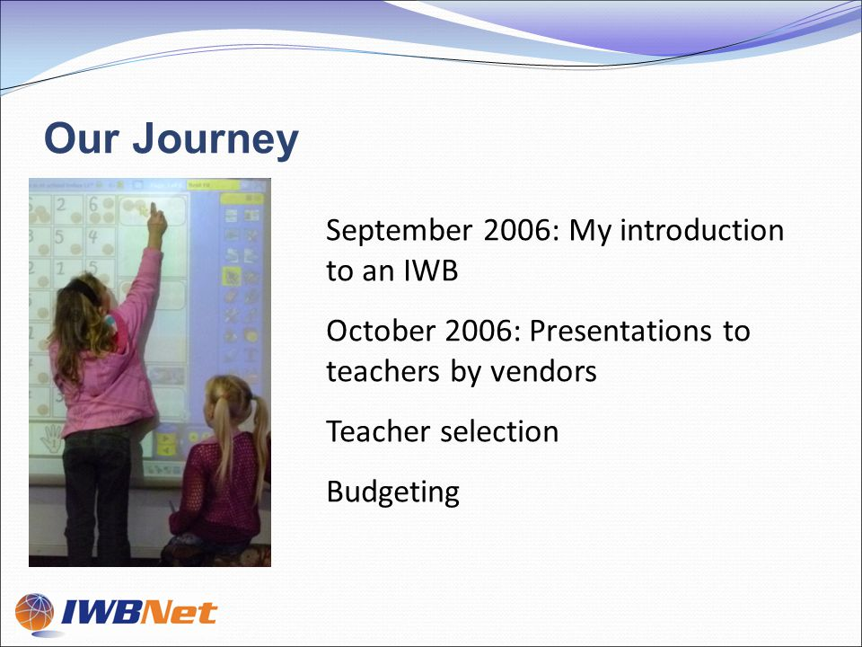 March 2007: School visits April 2007: First two IWBs installed May 2007: Sharing meeting June 2007: Second two IWBs installed February 2008: IWB number 5