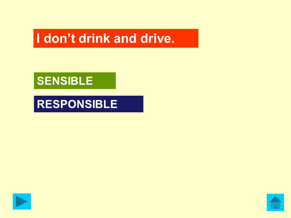 I don't drink and drive. RESPONSIBLE SENSIBLE