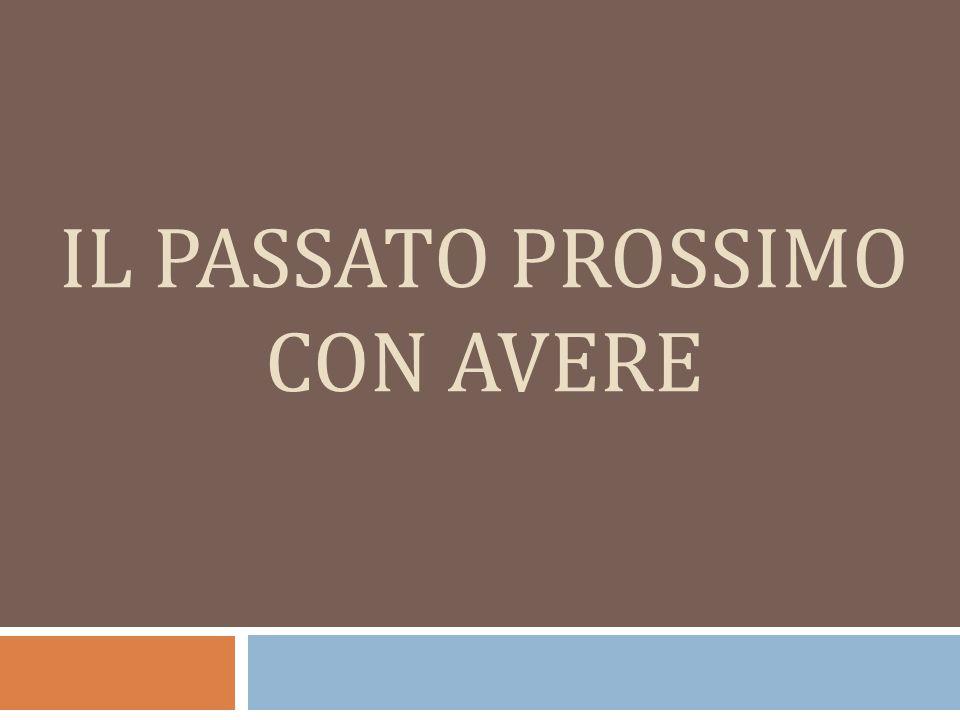 IL PASSATO PROSSIMO CON AVERE