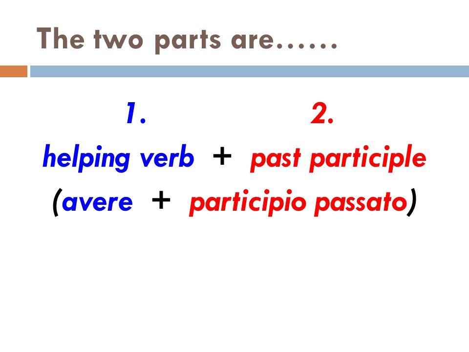 Part One……The Helping Verb io ho tu hai lui ha lei ha Lei ha noi abbiamo voi avete loro hanno Loro hanno Avere: to have