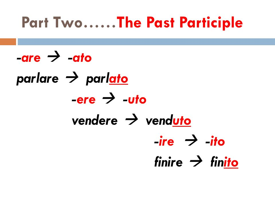Part Two……The Past Participle -are  -ato parlare  parlato -ere  -uto vendere  venduto -ire  -ito finire  finito