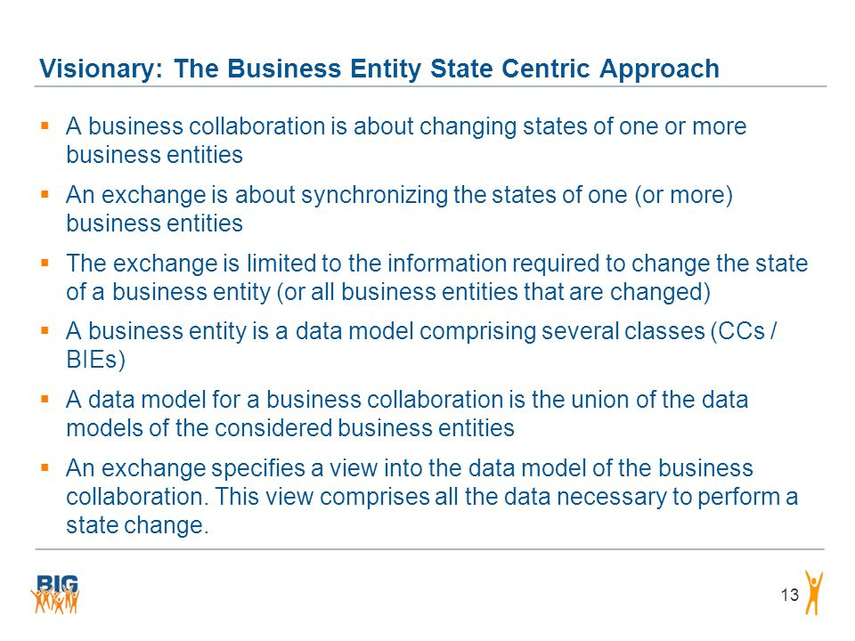 Visionary: The Business Entity State Centric Approach 13  A business collaboration is about changing states of one or more business entities  An exc