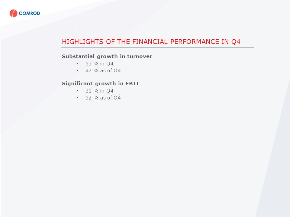 HIGHLIGHTS OF THE FINANCIAL PERFORMANCE IN Q4 Substantial growth in turnover 53 % in Q4 47 % as of Q4 Significant growth in EBIT 31 % in Q4 52 % as of Q4