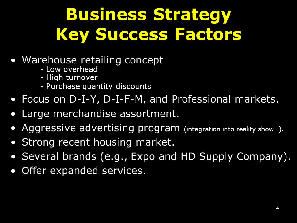 4 Business Strategy Key Success Factors Warehouse retailing concept - Low overhead - High turnover - Purchase quantity discounts Focus on D-I-Y, D-I-F-M, and Professional markets.