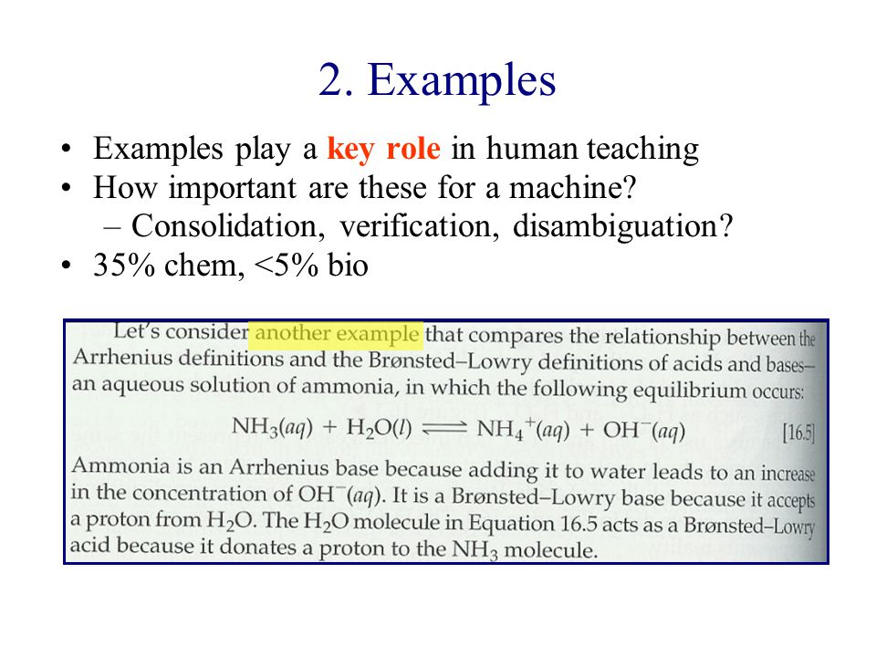 2. Examples Examples play a key role in human teaching How important are these for a machine.