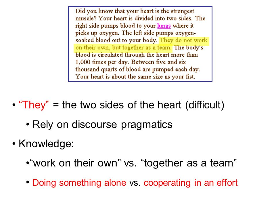 They = the two sides of the heart (difficult) Rely on discourse pragmatics Knowledge: work on their own vs.