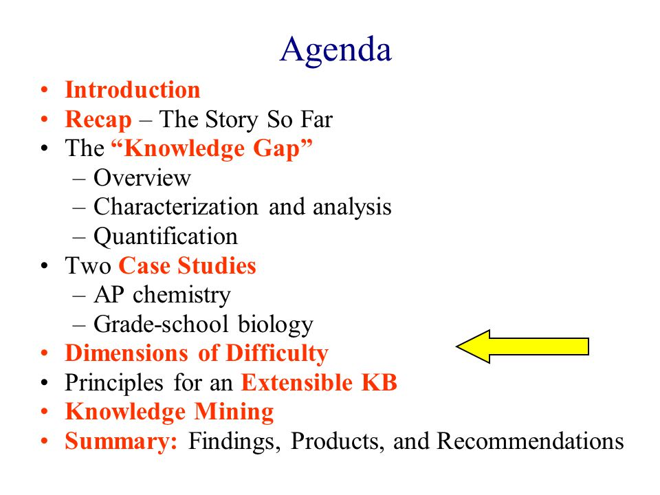 Agenda Introduction Recap – The Story So Far The Knowledge Gap –Overview –Characterization and analysis –Quantification Two Case Studies –AP chemistry –Grade-school biology Dimensions of Difficulty Principles for an Extensible KB Knowledge Mining Summary: Findings, Products, and Recommendations