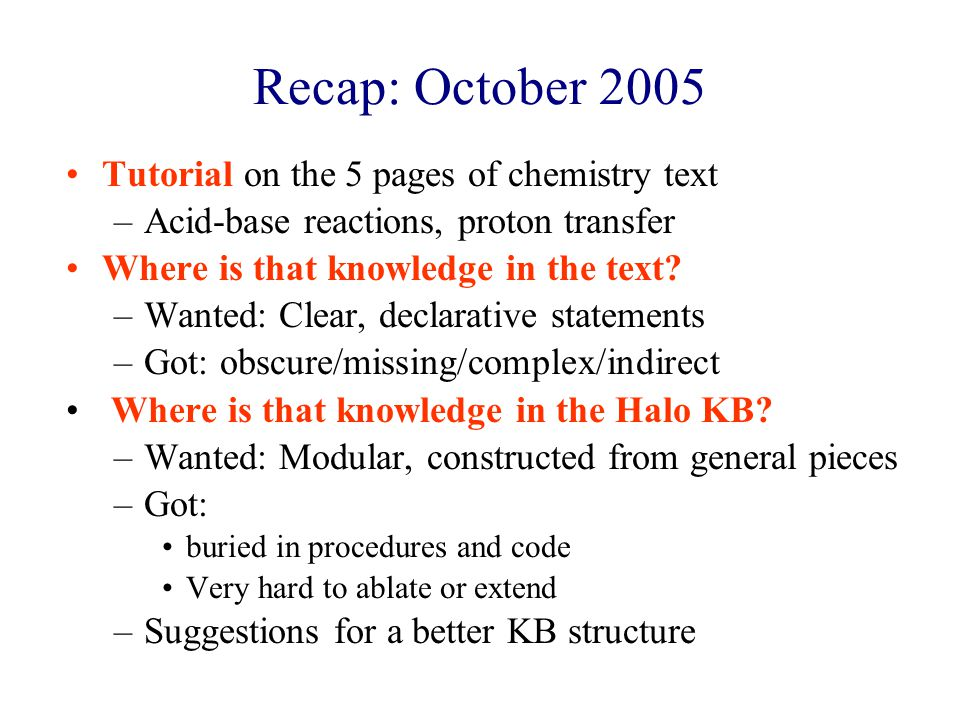 Recap: October 2005 Tutorial on the 5 pages of chemistry text –Acid-base reactions, proton transfer Where is that knowledge in the text.
