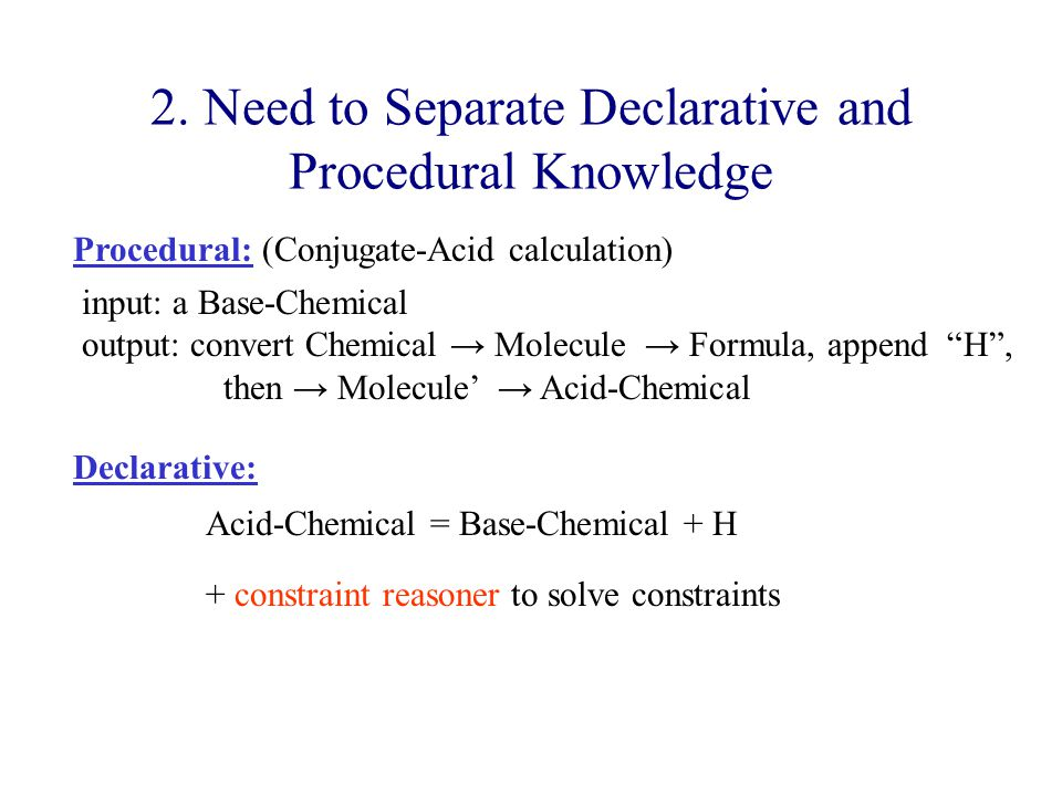 """2. Need to Separate Declarative and Procedural Knowledge input: a Base-Chemical output: convert Chemical → Molecule → Formula, append """"H"""", then → Mole"""