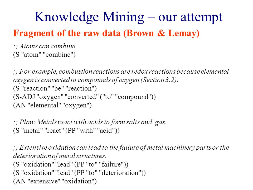 Knowledge Mining – our attempt ;; Atoms can combine (S atom combine ) ;; For example, combustion reactions are redox reactions because elemental oxygen is converted to compounds of oxygen (Section 3.2).