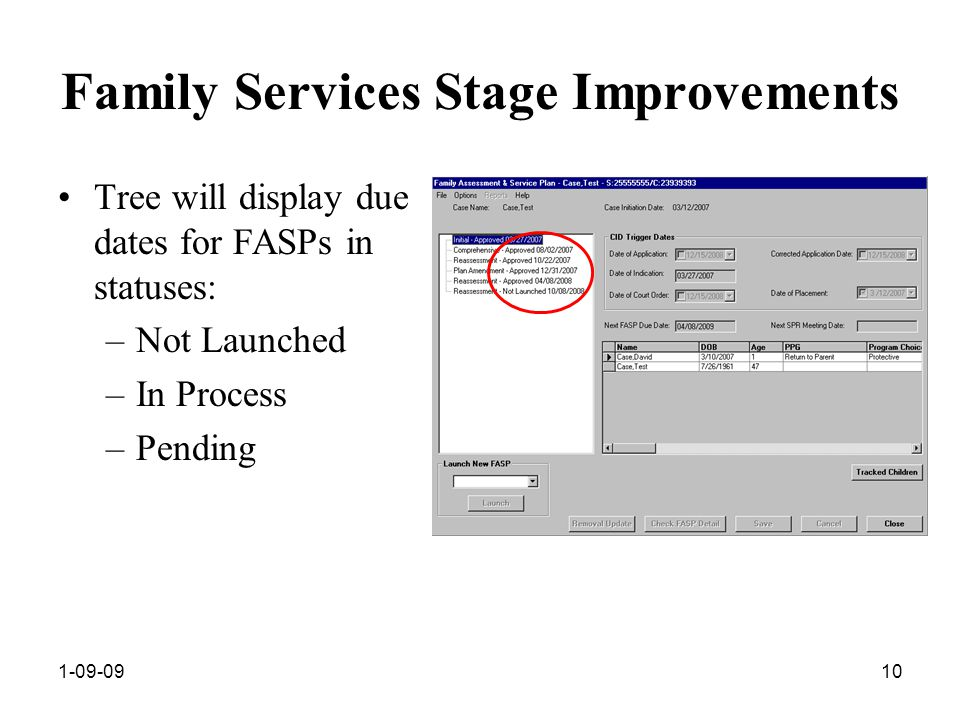 1-09-0910 Family Services Stage Improvements Tree will display due dates for FASPs in statuses: –Not Launched –In Process –Pending