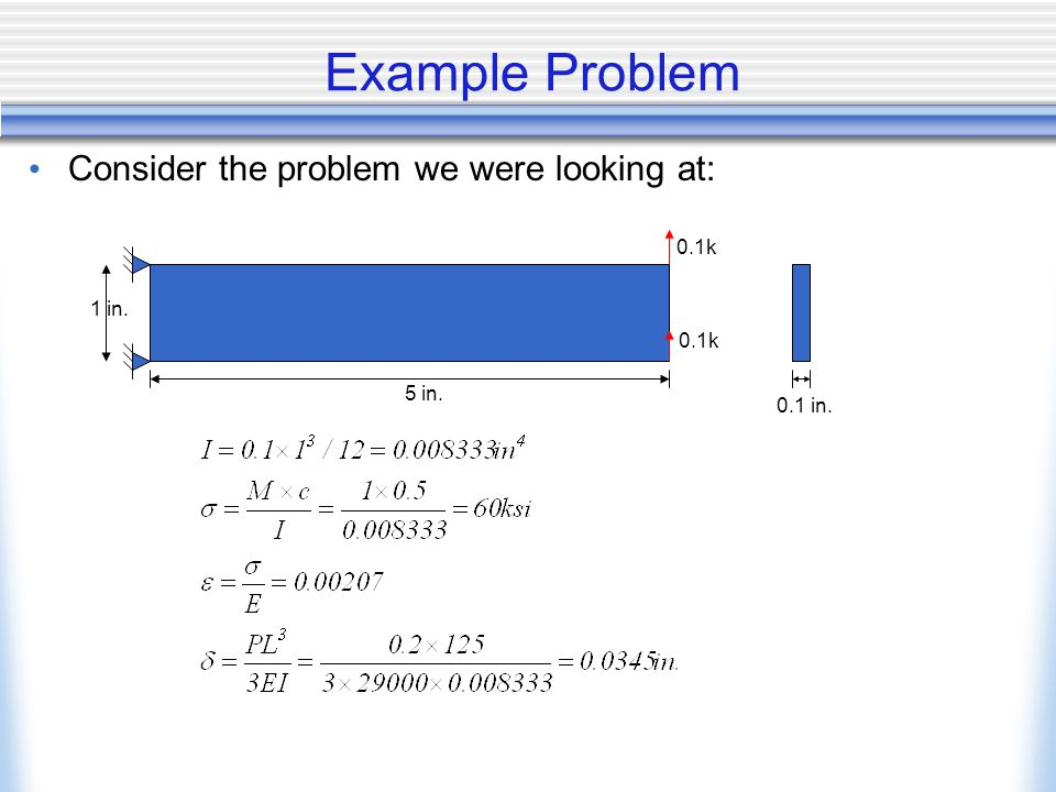 Example Problem Consider the problem we were looking at: 5 in. 1 in. 0.1 in. 0.1k