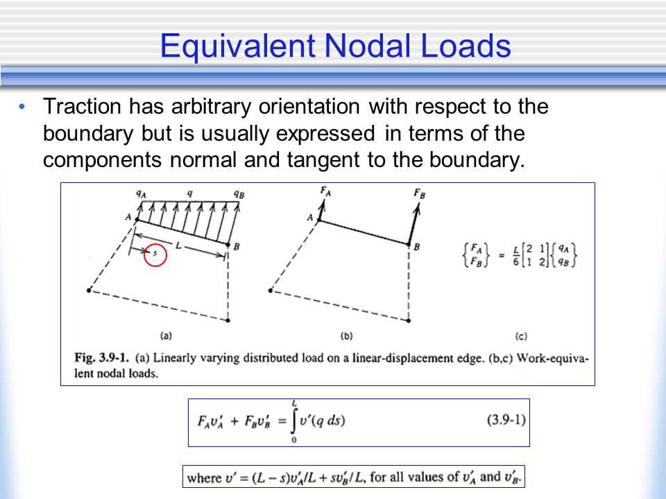 Equivalent Nodal Loads Traction has arbitrary orientation with respect to the boundary but is usually expressed in terms of the components normal and tangent to the boundary.