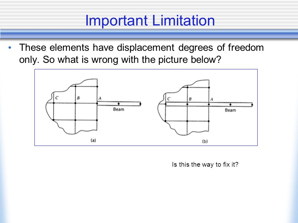 Important Limitation These elements have displacement degrees of freedom only.