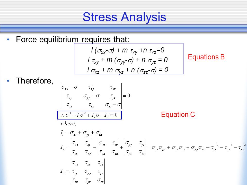 Stress Analysis Force equilibrium requires that: l (  xx -  ) + m  xy +n  xz =0 l  xy + m (  yy -  ) + n  yz = 0 l  xz + m  yz + n (  zz -