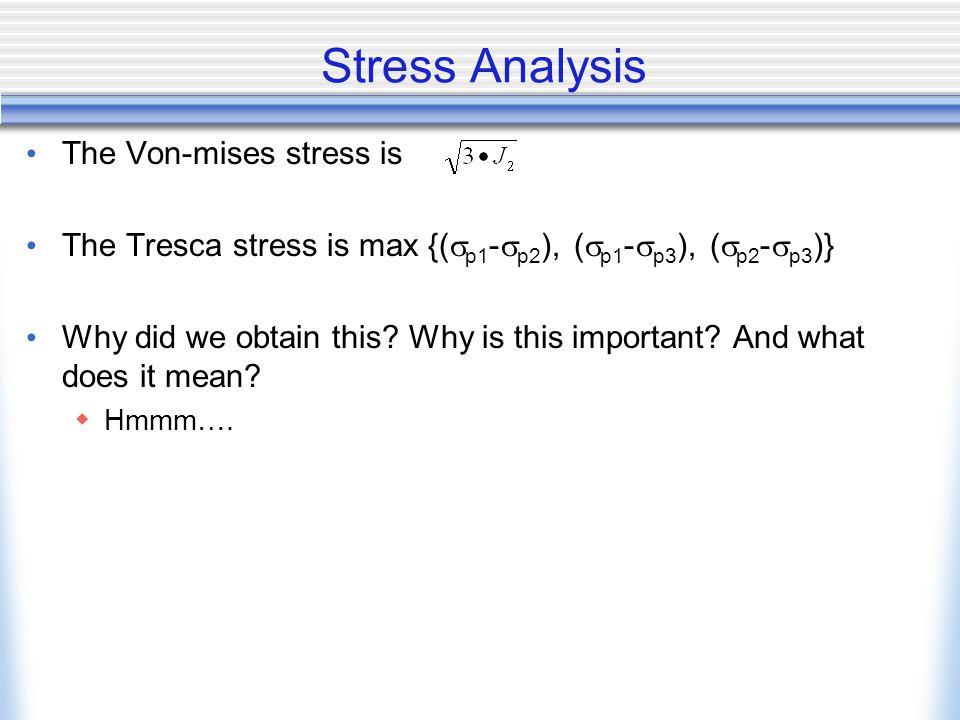 Stress Analysis The Von-mises stress is The Tresca stress is max {(  p1 -  p2 ), (  p1 -  p3 ), (  p2 -  p3 )} Why did we obtain this.
