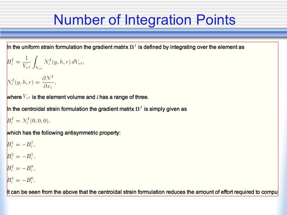 Number of Integration Points