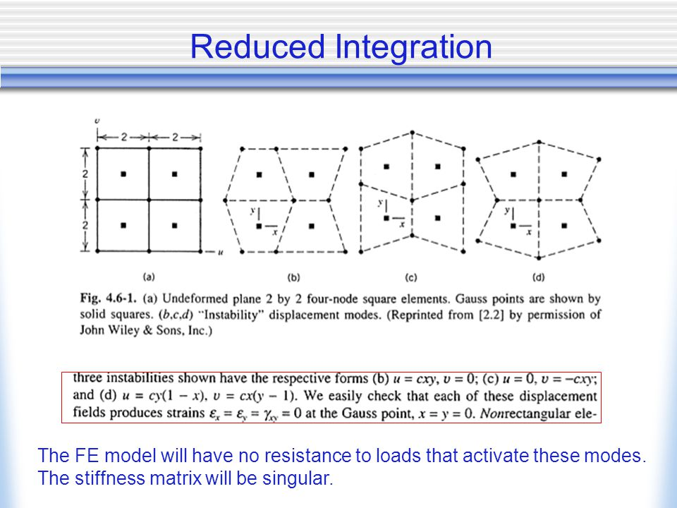 Reduced Integration The FE model will have no resistance to loads that activate these modes. The stiffness matrix will be singular.