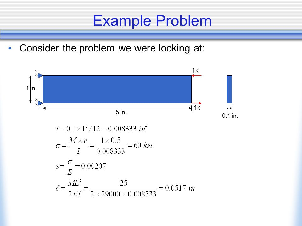 Example Problem Consider the problem we were looking at: 5 in. 1 in. 0.1 in. 1k