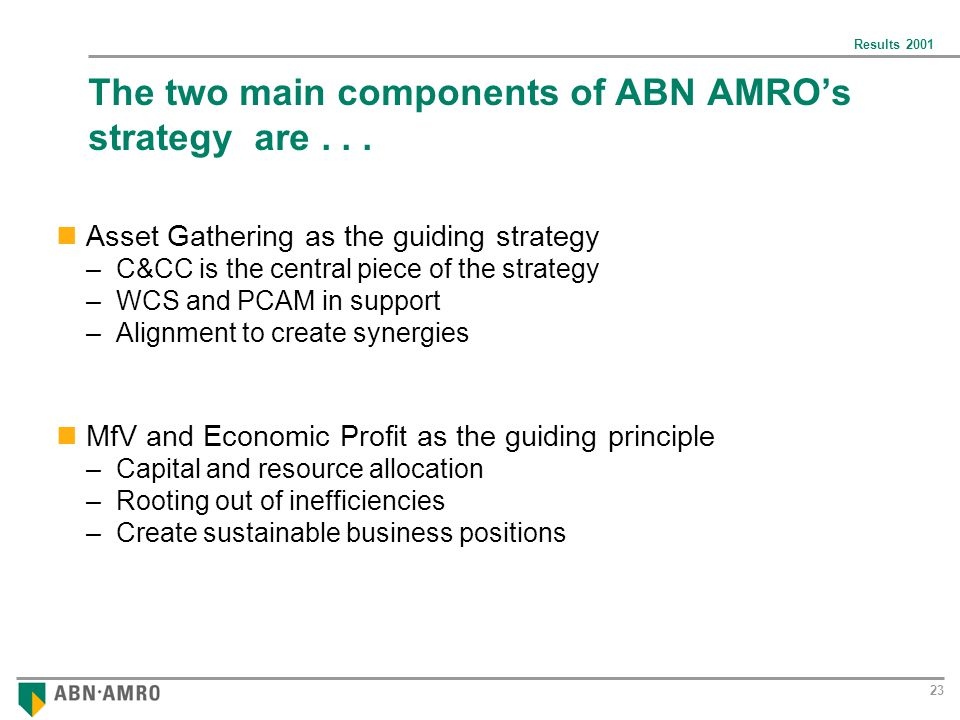 Results The two main components of ABN AMRO's strategy are...