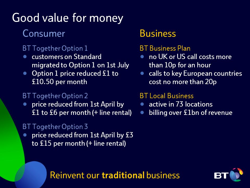 Good value for money BT Together Option 1 customers on Standard migrated to Option 1 on 1st July Option 1 price reduced £1 to £10.50 per month BT Toge