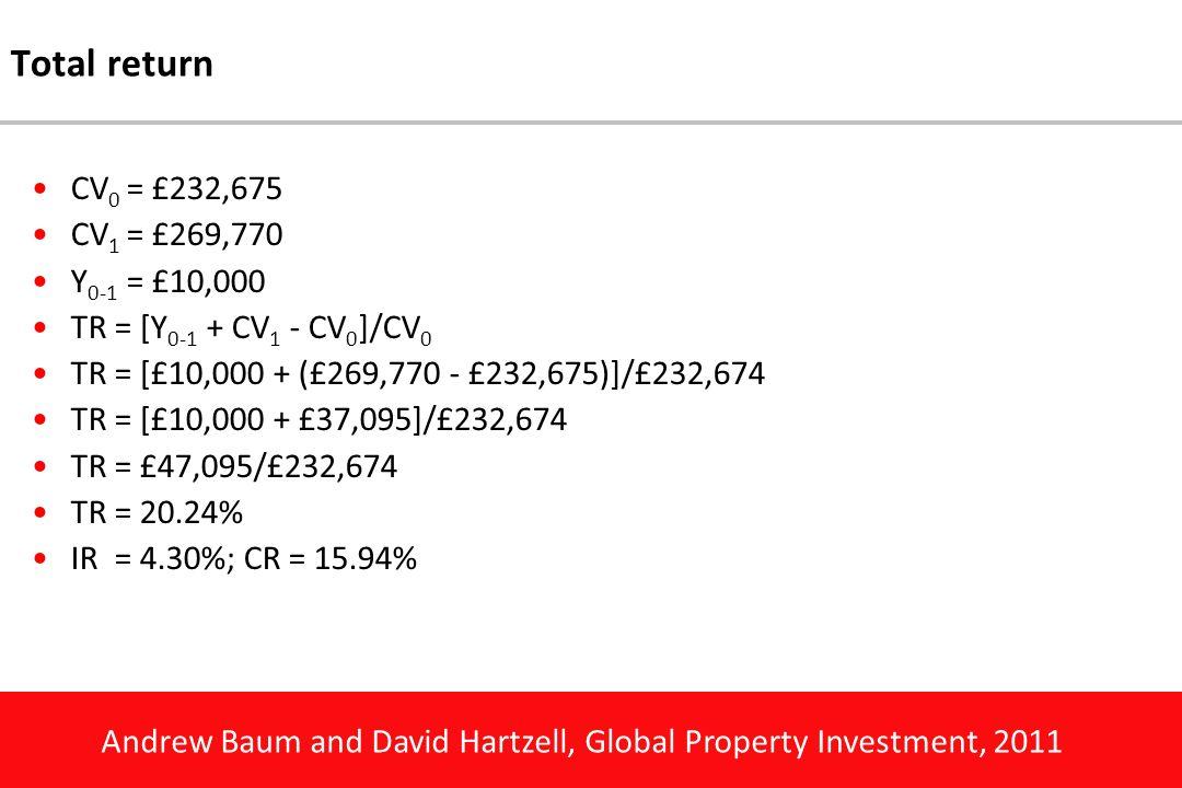 Andrew Baum and David Hartzell, Global Property Investment, 2011 Total return CV 0 = £232,675 CV 1 = £269,770 Y 0-1 = £10,000 TR = [Y 0-1 + CV 1 - CV