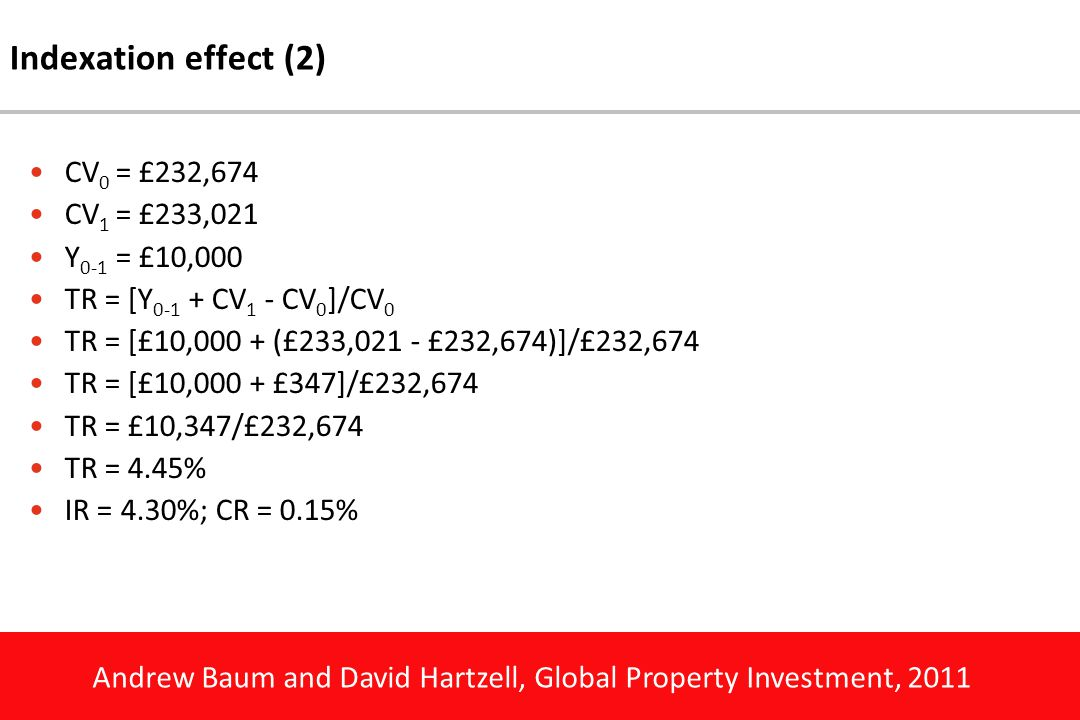 Andrew Baum and David Hartzell, Global Property Investment, 2011 Indexation effect (2) CV 0 = £232,674 CV 1 = £233,021 Y 0-1 = £10,000 TR = [Y 0-1 + CV 1 - CV 0 ]/CV 0 TR = [£10,000 + (£233,021 - £232,674)]/£232,674 TR = [£10,000 + £347]/£232,674 TR = £10,347/£232,674 TR = 4.45% IR = 4.30%; CR = 0.15%