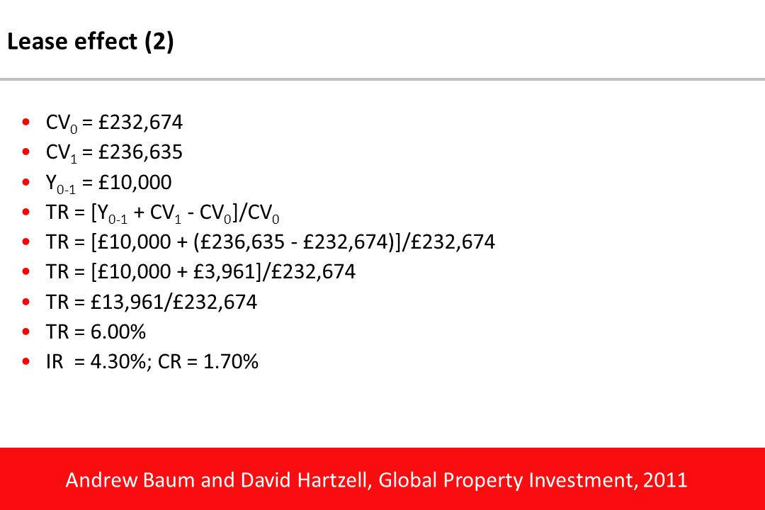 Andrew Baum and David Hartzell, Global Property Investment, 2011 Lease effect (2) CV 0 = £232,674 CV 1 = £236,635 Y 0-1 = £10,000 TR = [Y 0-1 + CV 1 - CV 0 ]/CV 0 TR = [£10,000 + (£236,635 - £232,674)]/£232,674 TR = [£10,000 + £3,961]/£232,674 TR = £13,961/£232,674 TR = 6.00% IR = 4.30%; CR = 1.70%