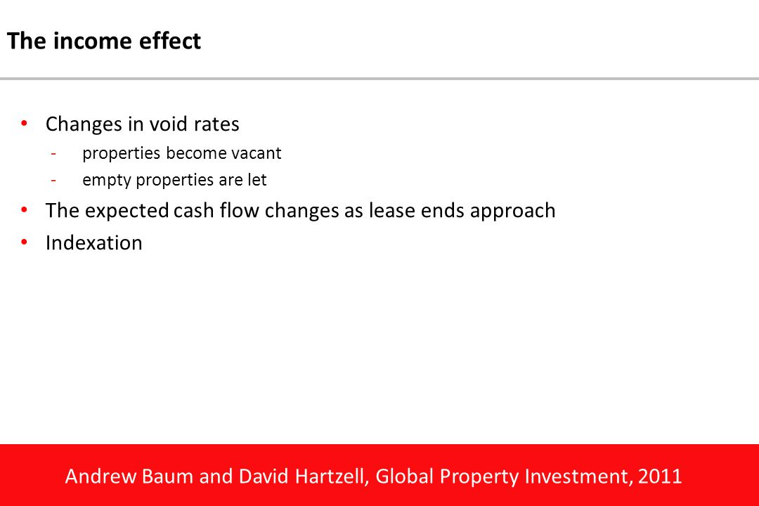 Andrew Baum and David Hartzell, Global Property Investment, 2011 The income effect Changes in void rates -properties become vacant -empty properties a