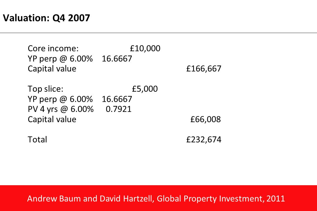 Andrew Baum and David Hartzell, Global Property Investment, 2011 Valuation: Q4 2007 Core income:£10,000 YP perp @ 6.00%16.6667 Capital value£166,667 T