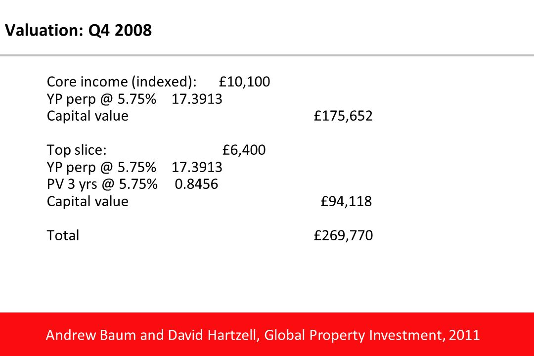 Andrew Baum and David Hartzell, Global Property Investment, 2011 Valuation: Q4 2008 Core income (indexed):£10,100 YP perp @ 5.75%17.3913 Capital value