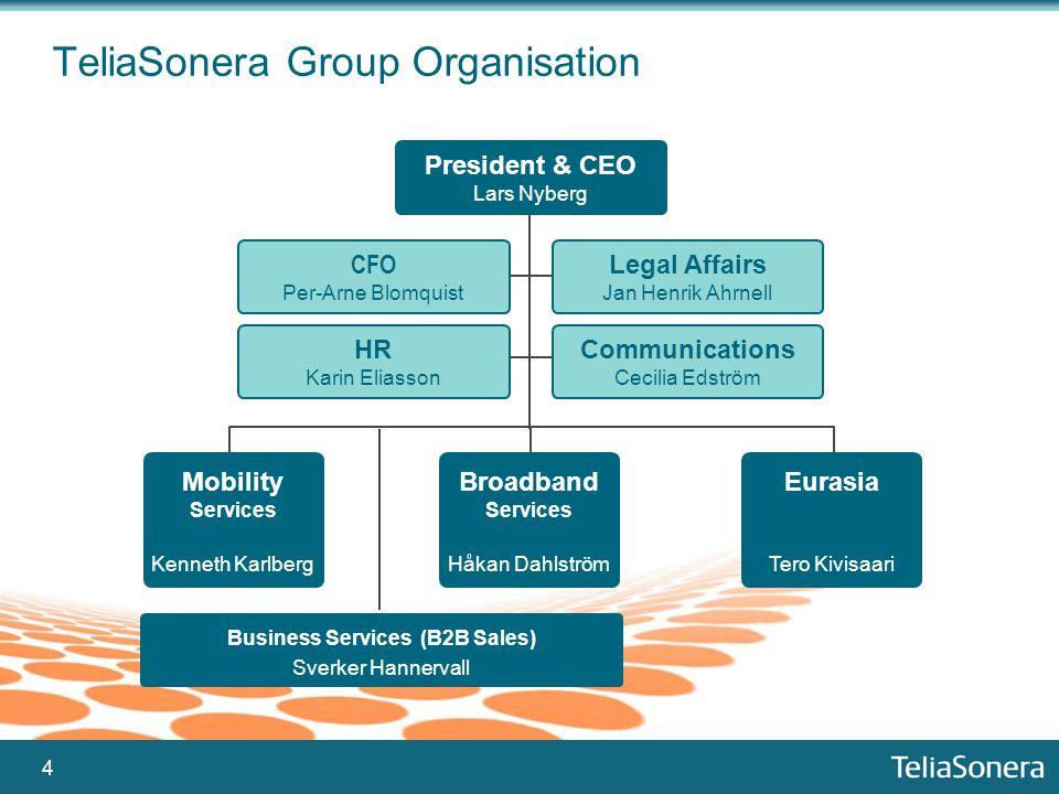 4 President & CEO Lars Nyberg Mobility Services Kenneth Karlberg TeliaSonera Group Organisation Legal Affairs Jan Henrik Ahrnell Communications Cecili