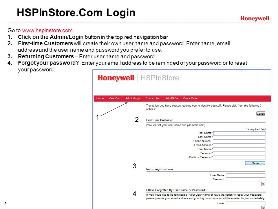 3 HSPInStore.Com Login Go to www.hspinstore.comwww.hspinstore.com 1.Click on the Admin/Login button in the top red navigation bar 2.First-time Custome