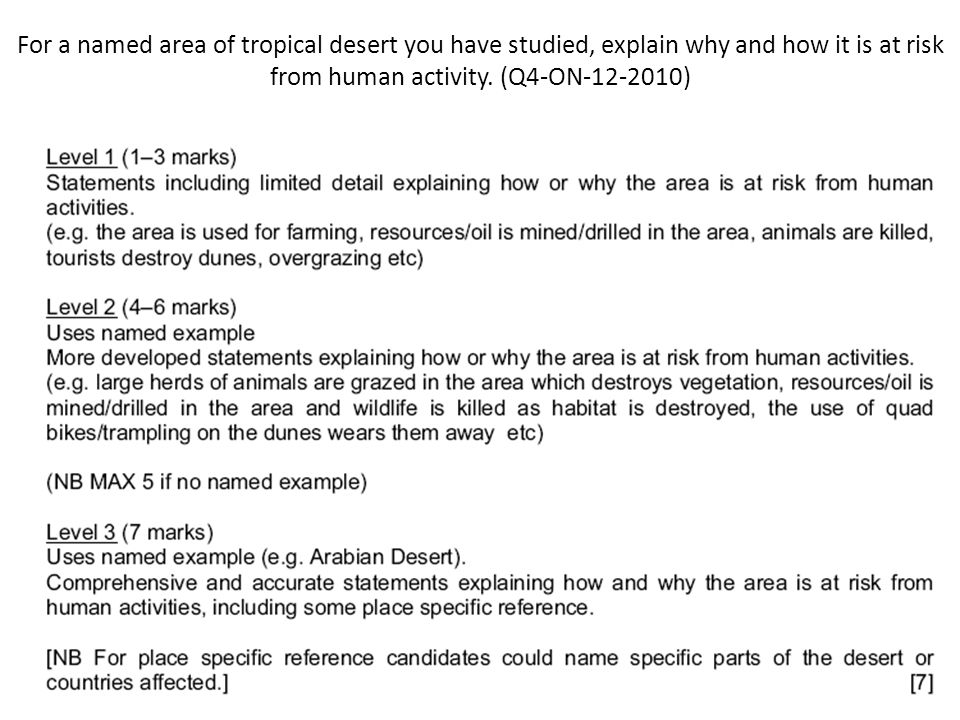 For a named area of tropical desert you have studied, explain why and how it is at risk from human activity. (Q4-ON-12-2010)