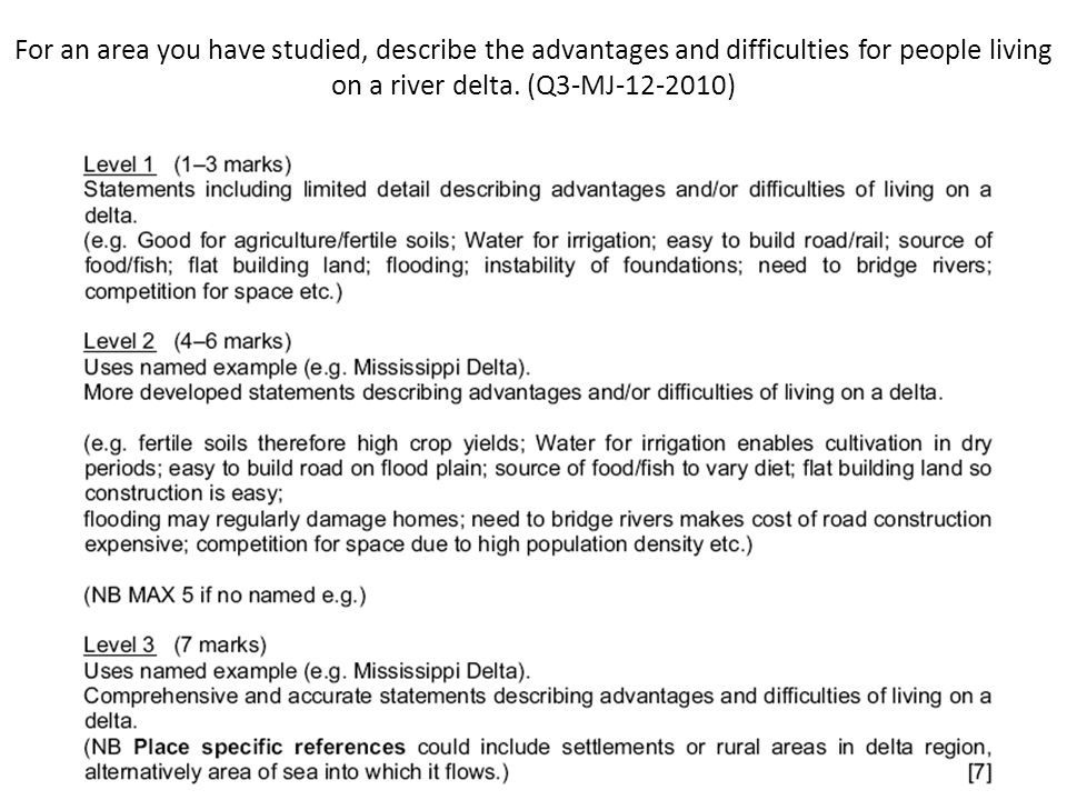 For an area you have studied, describe the advantages and difficulties for people living on a river delta. (Q3-MJ-12-2010)