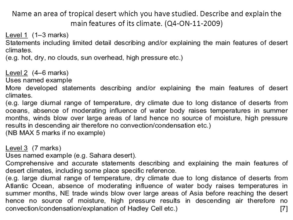 Name an area of tropical desert which you have studied. Describe and explain the main features of its climate. (Q4-ON-11-2009)