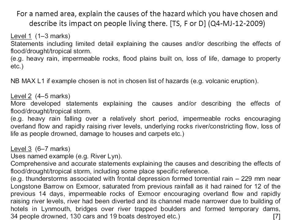 For a named area, explain the causes of the hazard which you have chosen and describe its impact on people living there. [TS, F or D] (Q4-MJ-12-2009)