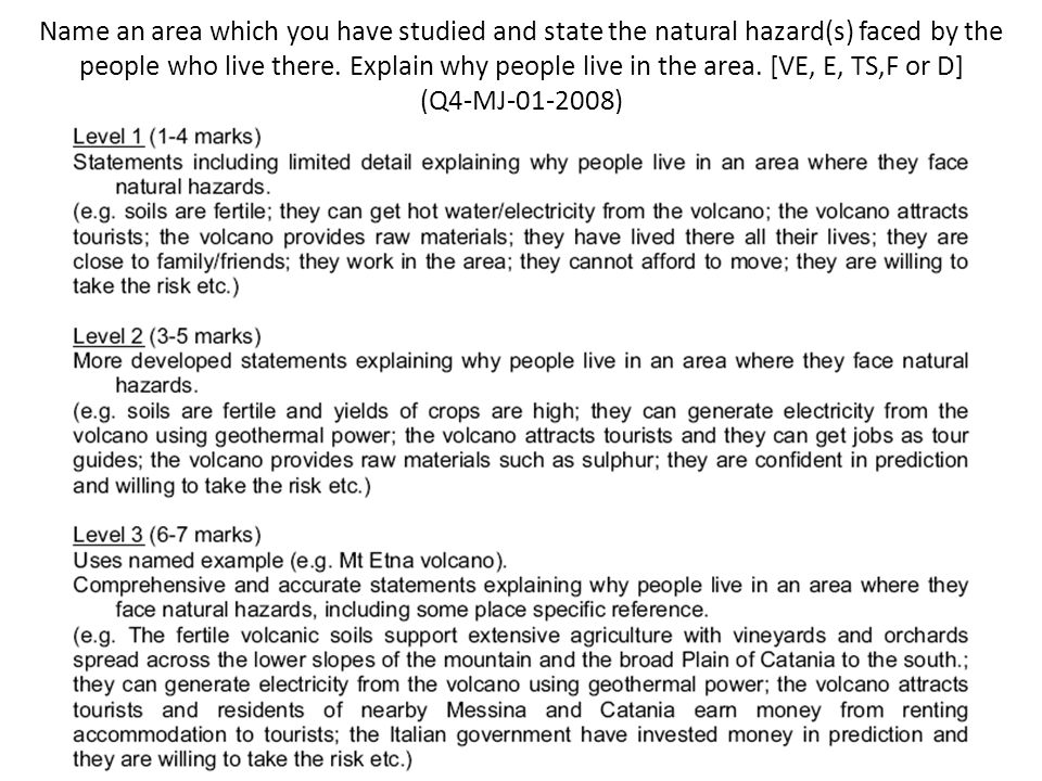 Name an area which you have studied and state the natural hazard(s) faced by the people who live there. Explain why people live in the area. [VE, E, T