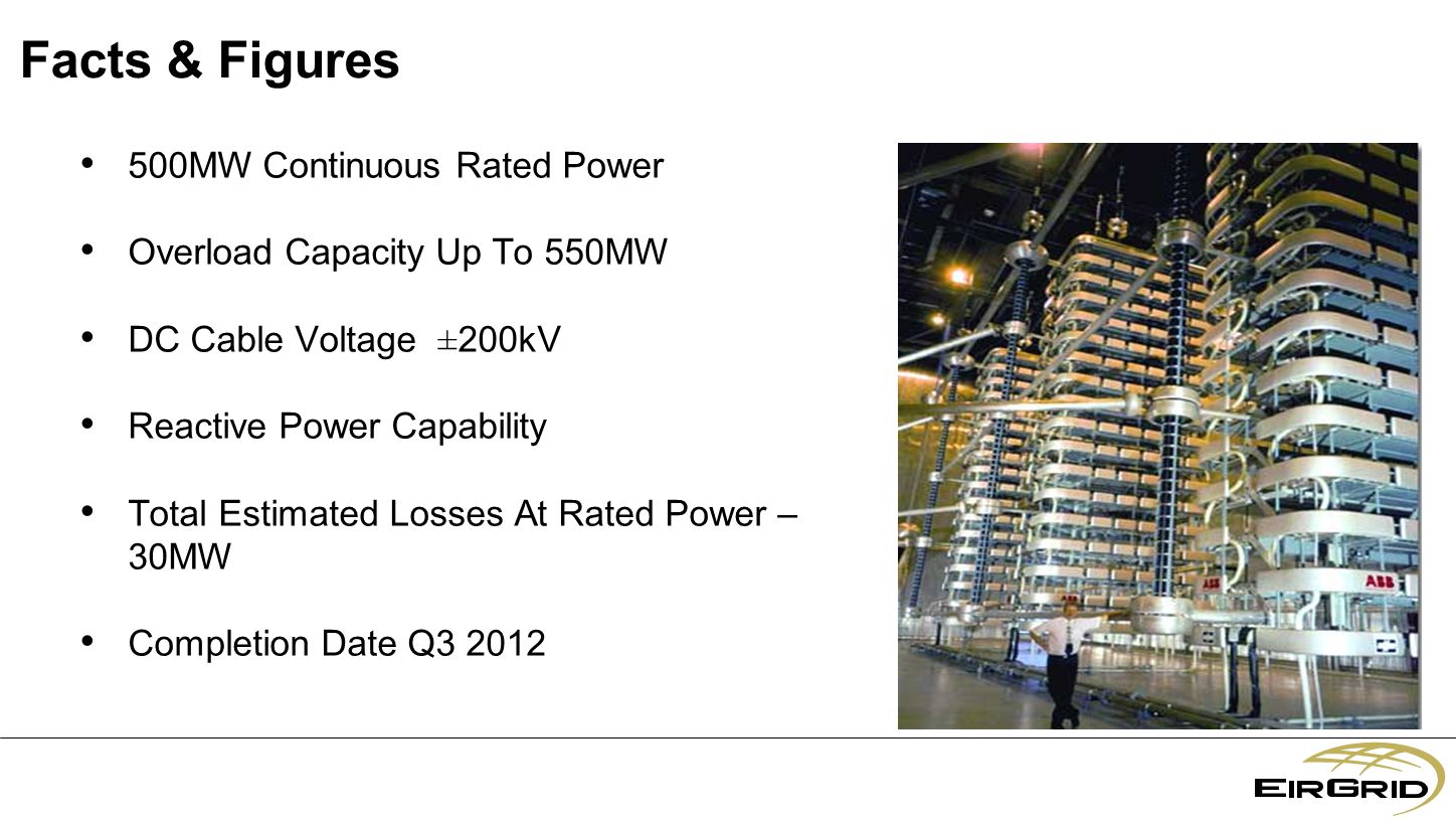 Facts & Figures 500MW Continuous Rated Power Overload Capacity Up To 550MW DC Cable Voltage ± 200kV Reactive Power Capability Total Estimated Losses At Rated Power – 30MW Completion Date Q3 2012