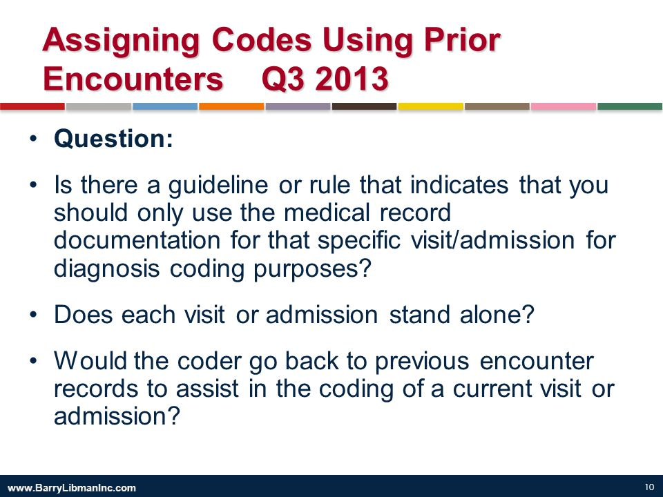 10 Assigning Codes Using Prior Encounters Q3 2013 Question: Is there a guideline or rule that indicates that you should only use the medical record do