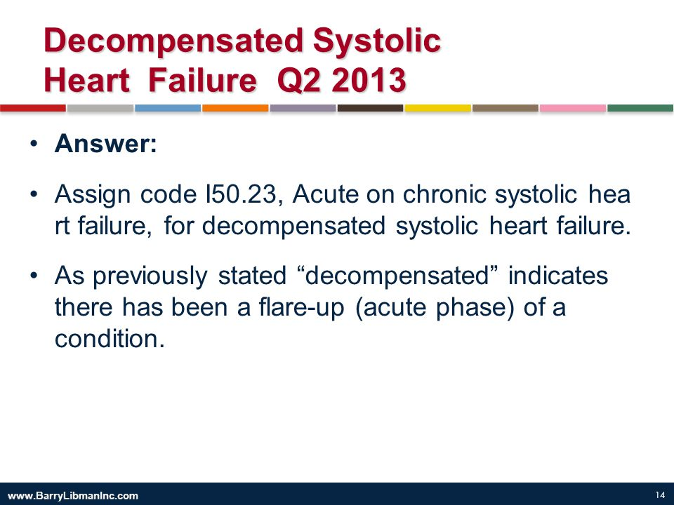 14 Decompensated Systolic Heart Failure Q2 2013 Answer: Assign code I50.23, Acute on chronic systolic hea rt failure, for decompensated systolic heart